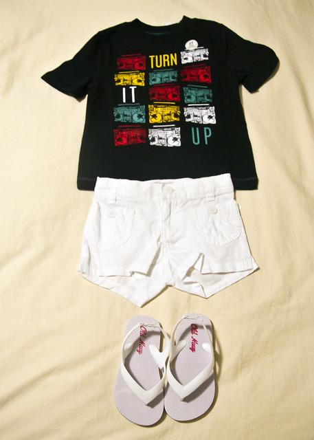 t-shirt, white shorts, white flip flops