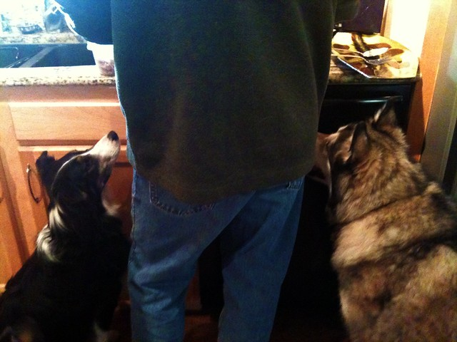 Lucy and Luka supervise the turkey carving