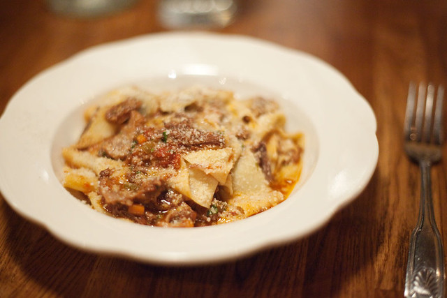 Homemade pappardelle with short rib ragu