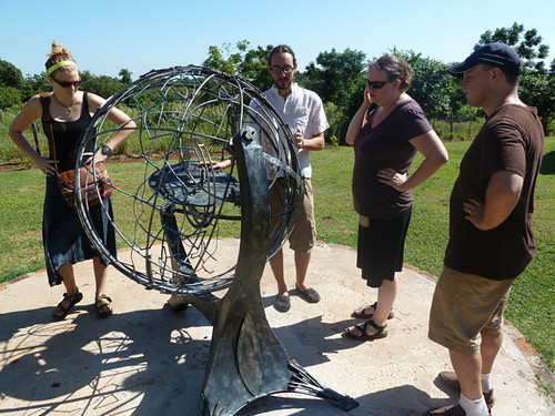 The crew checks out the armillary sphere