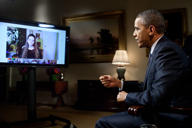 President Barack Obama participates in an interview with YouTube and Google+ to discuss his State of the Union Address, in the Roosevelt Room of the White House, Jan. 30, 2012. The interview was held through a Google+ Hangout, making it the first completely virtual interview from the White House. (Official White House Photo by Pete Souza)