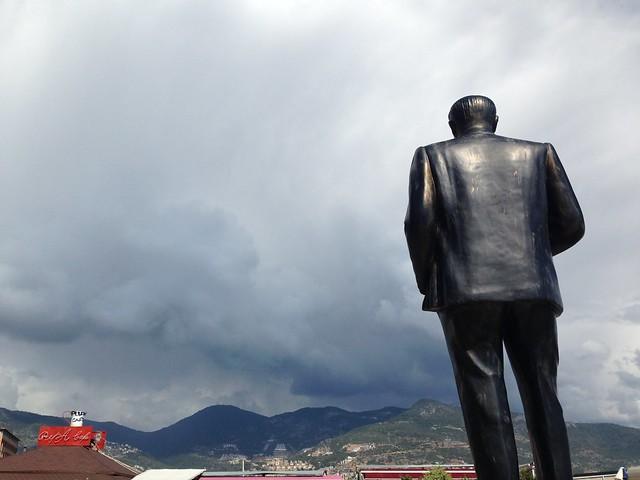 Ataturk overlooking mountains
