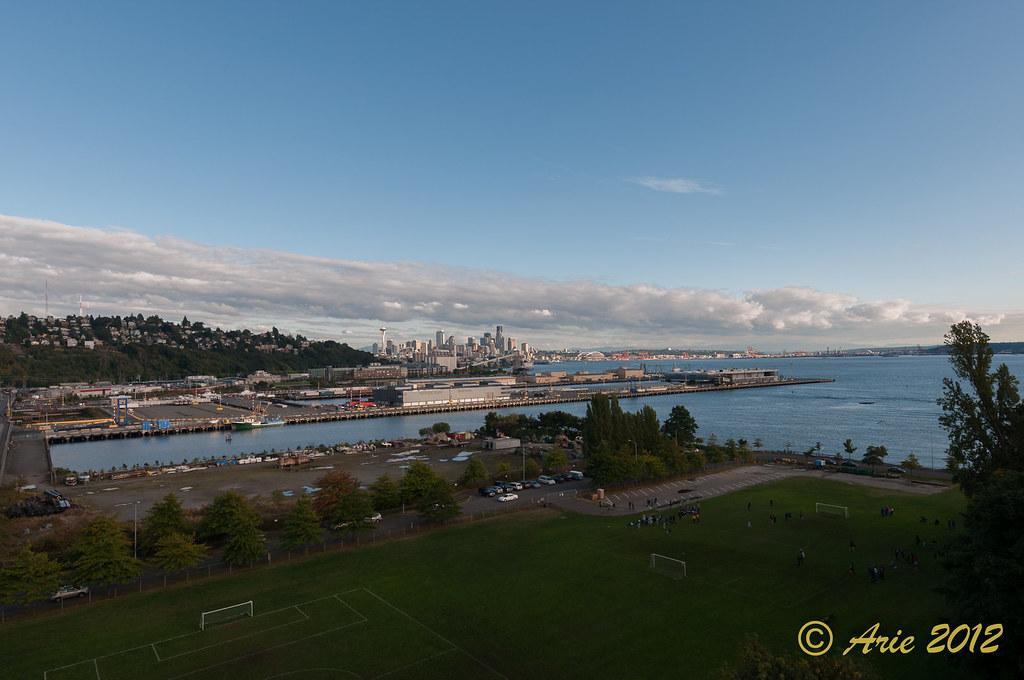 Ultra wide angle Seattle skyline