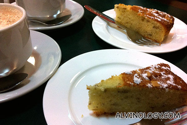 A cup of milo and a self-made slice of banana cake each