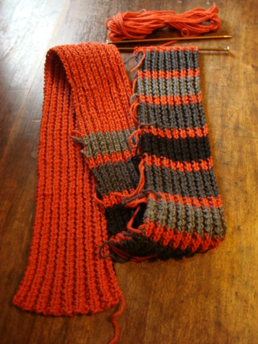 Orange scarf with gray - WIP