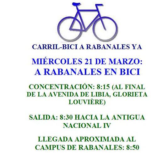 Una nueva marcha de reivindicación del carril-bici a Rabanales el próximo 21 de Marzo.