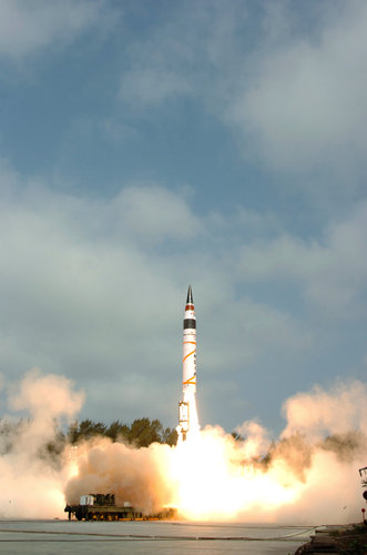 Agni 5 missile launch. Reuters image, via the New York Times.