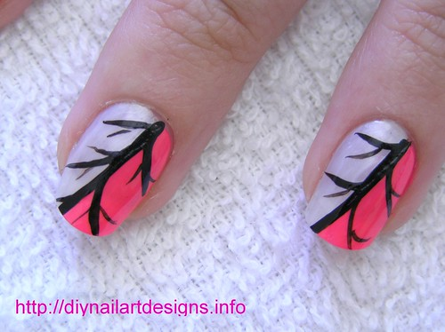 Easy Nail Art Designs: Pink and Silver Abstract Nail Design