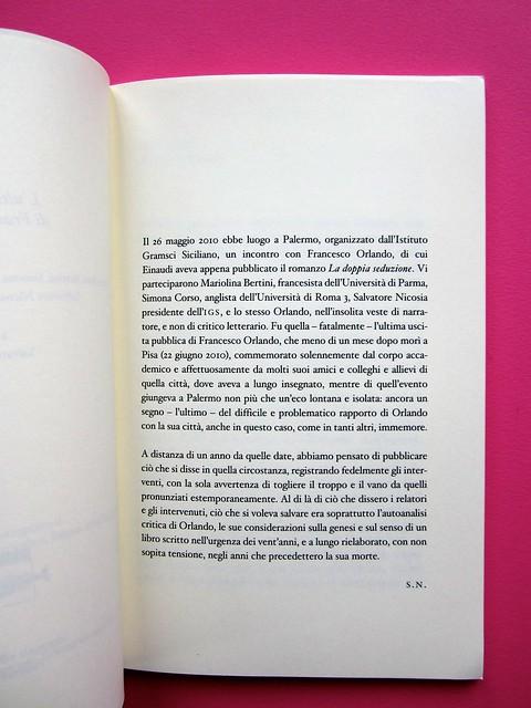 L'ultima seduzione di Francesco Orlando ( a cura di Salvatore Nicosia), :due punti edizioni 2012. Progetto grafico e impaginazione: .:terzopunto.it. pag. 7 (part.), 1