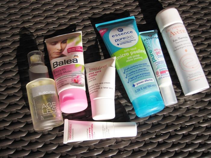 subcutane hydro lipid emulsion | balea enzym peeling maske | santaverde aloe vera creme medium & augencreme | essence pure skin anti spot micro peeling & gel | avène thermalwasser