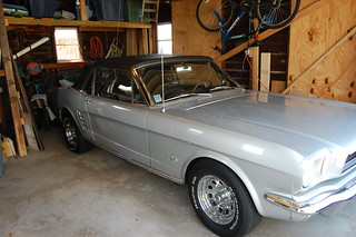 1966 silver Mustang convertible in our garage