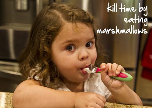 eating marshmallows