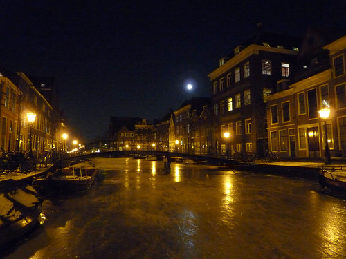 Frozen canal and full moon