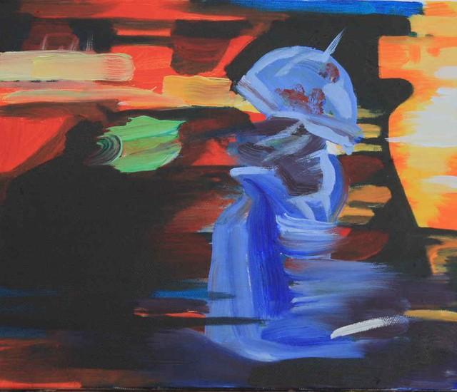 Janet E Davis, Street dancer with umbrella, oils on canvas, 2009. JED2_H72_020840