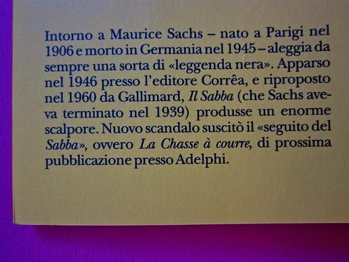 Maurice Sachs, Il Sabba, Adelphi 2011. [Resp. grafica non indicata]. Risvolto di copertina (part.), 2
