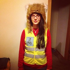 Safety Fox With Her New Vest and Pocket Patch