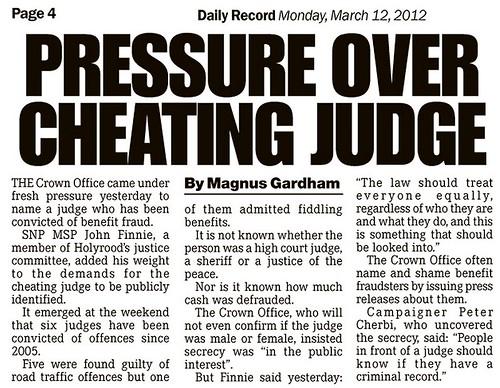 Pressure over Cheating Judge - Daily Record 12 March 2012