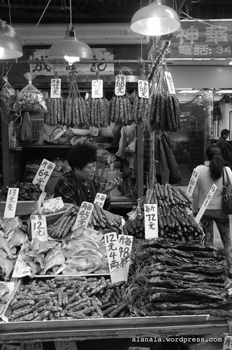 Chinese cured sausages market stall.