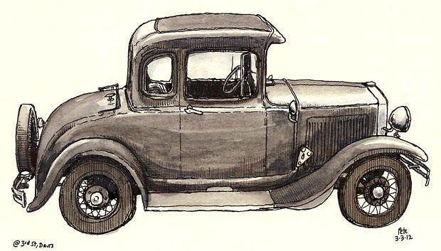 old car, davis, 3rd st