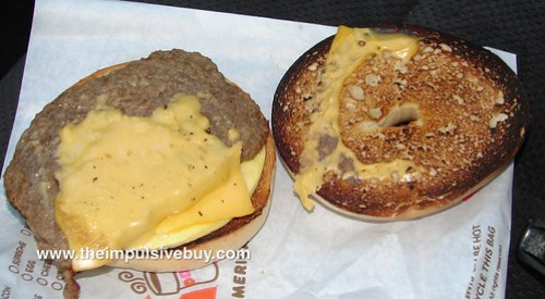 Dunkin' Donuts Angus Steak & Egg Sandwich Closeup