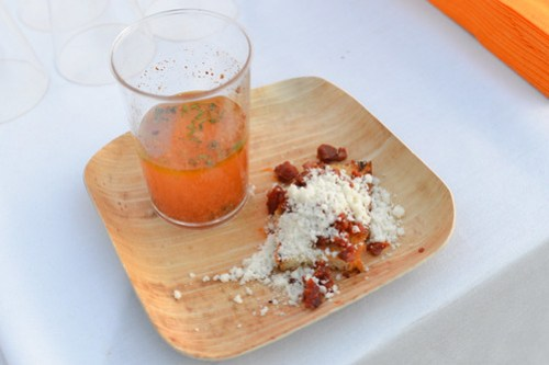 Drinkable Pizza Tomatoes-Anchovies-Oregano, Cheese Bread, Besties - Jean-Francois Piege (Jean-Francois Piege, Paris) and Carolynn Spence (Chateau Marmont, LA)