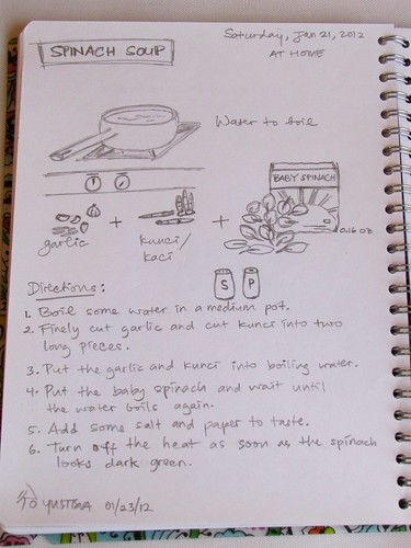 Spinach Soup Recipe in Drawing