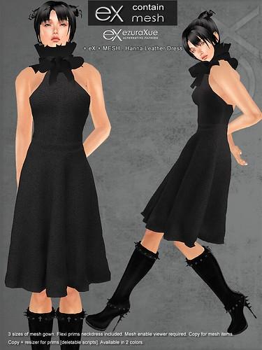 + eX + MESH . Hanna Leather Dress *Black