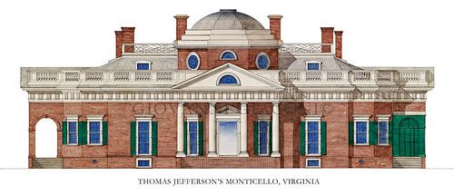 Thomas Jefferson's Monticello, Virginia, USA by Giovanni Giaconi Illustrator
