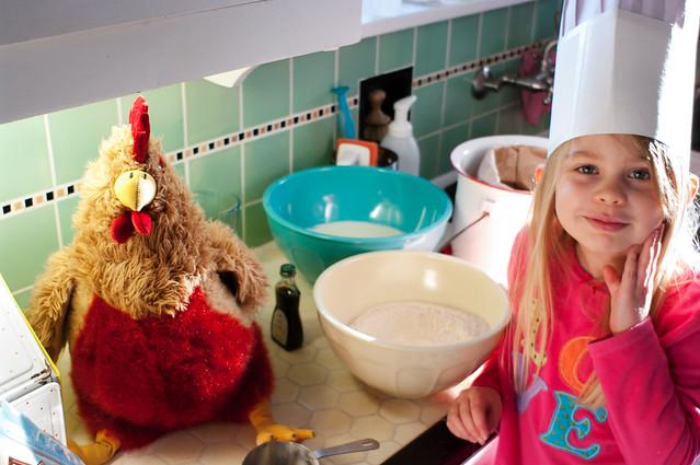 sadie and chickener in kitchen 3