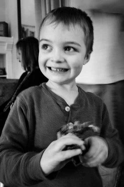 sadie's 5th birthday ethan B&W