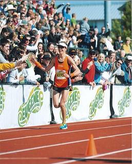 Katie Winning Eugene Marathon
