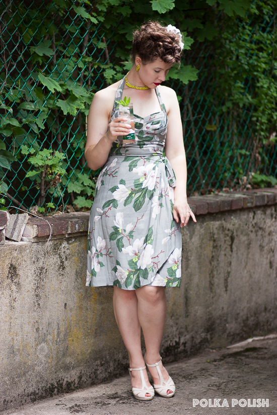 Trashy Diva Steel Magnolias print Lena Sarong dress, grey ground with green and cream floral