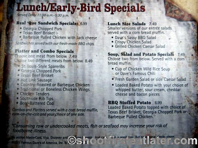 Famous Daves Bar-B-Que Lunch menu