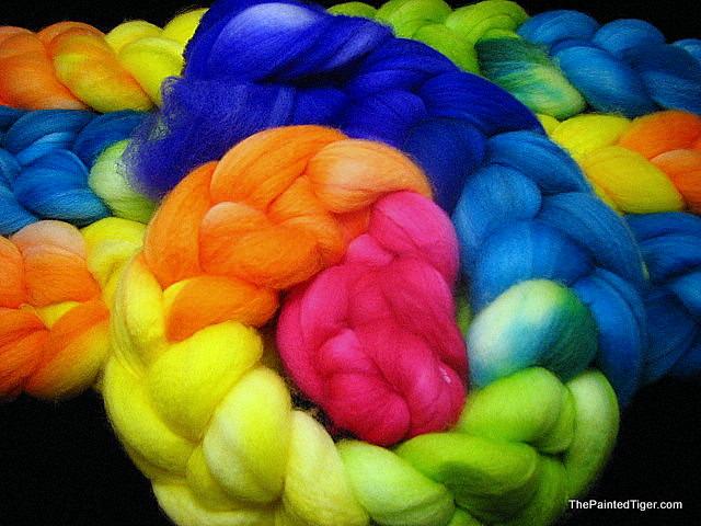 Tropical Rainbow - Superwash Merino Wool Spinning Fiber