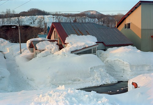 Snow erodes the roof