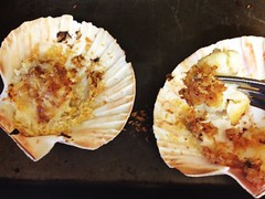 Grilled scallops in half-shell