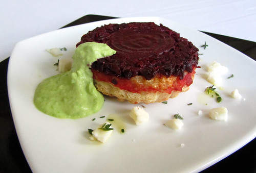 Beetroot tartlets with chilled pea cream