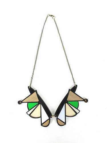 Necklace Geometric BlackGreen3