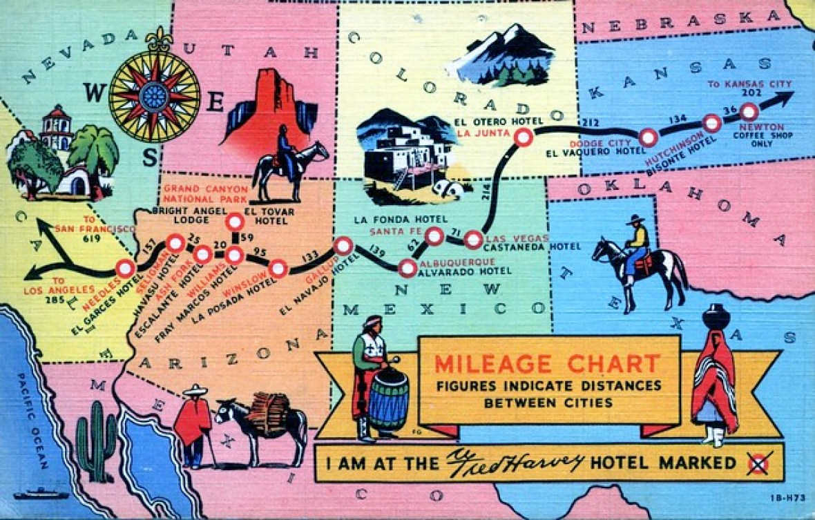 Atchison, Topeka and Santa Fe Railway/Fred Harvey Hotels postcard