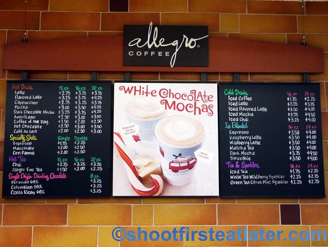 Allegro Coffee menu