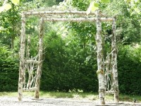 natural wood wedding pergola