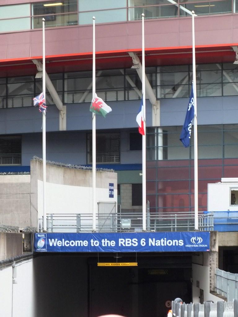 Flags at half mast outside Millennium Stadium for Mervyn Davies