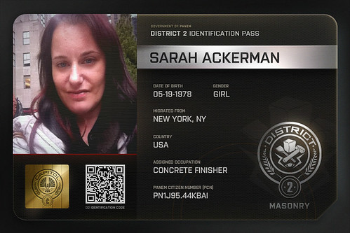 A photo of a mock Panem ID card from District 2.