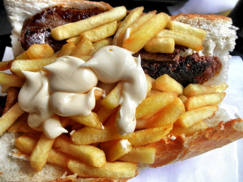 Meat, Mayo and Fries Sandwich in Belgium