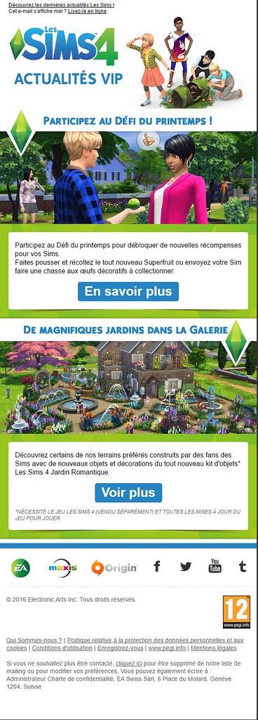 Newsletter Les Sims 4 - Mars 2016