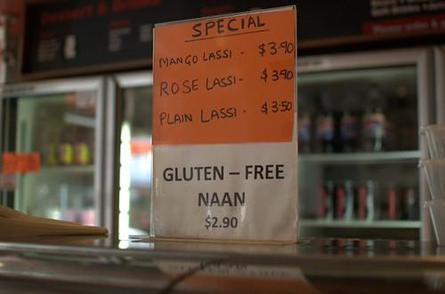 Gluten-free naan sign