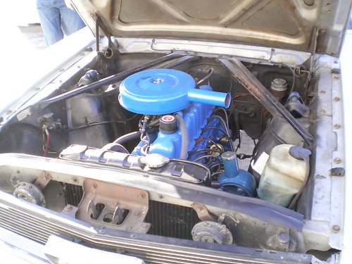 freshly painted motor with blue parts