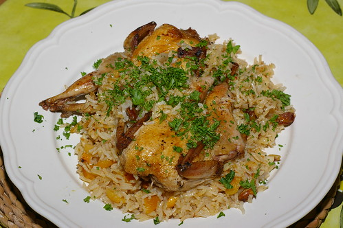Quails with apricot and pistachio pilaff by La belle dame sans souci