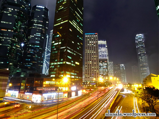 Light trails on Connaught Road and the Skyline