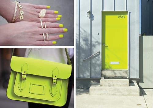 Fluro-yellow & Neon chartreuse: Nail polish purse \u0026 door   Maquette by Samantha Hahn Pezcame.Com